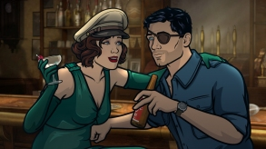 "ARCHER ""Season 9, Episode 1 -- Pictured (l-r): Charlotte Vandertunt (voice of Judy Greer), Sterling Archer (voice of H. Jon Benjamin). CR: FXX"