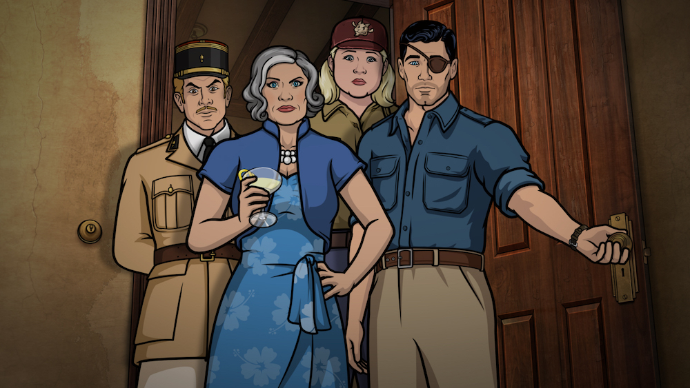 """ARCHER -- """"Season 9, Episode 1 -- Pictured (l-r): Reynaud (voice of Adam Reed), Malory Archer (voice of Jessica Walter), Pam Poovey (voice of Amber Nash), Sterling Archer (voice of H. Jon Benjamin). CR: FXX"""