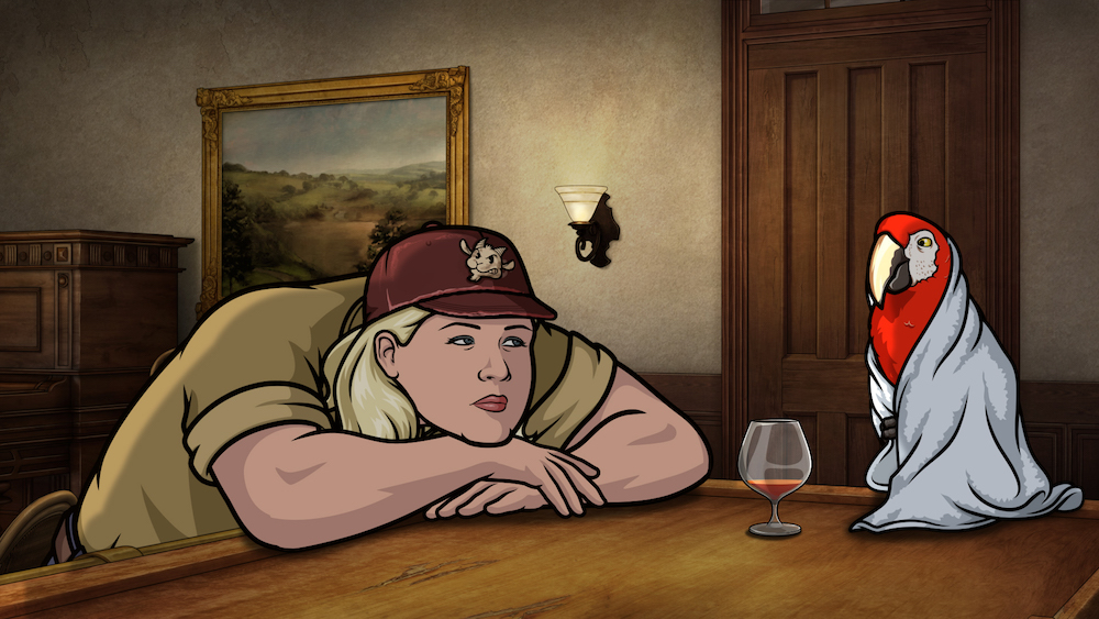 "ARCHER -- ""Season 9, Episode 1 -- Pictured (l-r): Pam Poovey (voice of Amber Nash), Crackers (voice of Lucky Yates). CR: FXX"