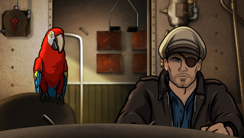 """ARCHER -- """"Season 9, Episode 1 -- Pictured (l-r):  Crackers (voice of Lucky Yates), Sterling Archer (voice of H. Jon Benjamin). CR: FXX"""