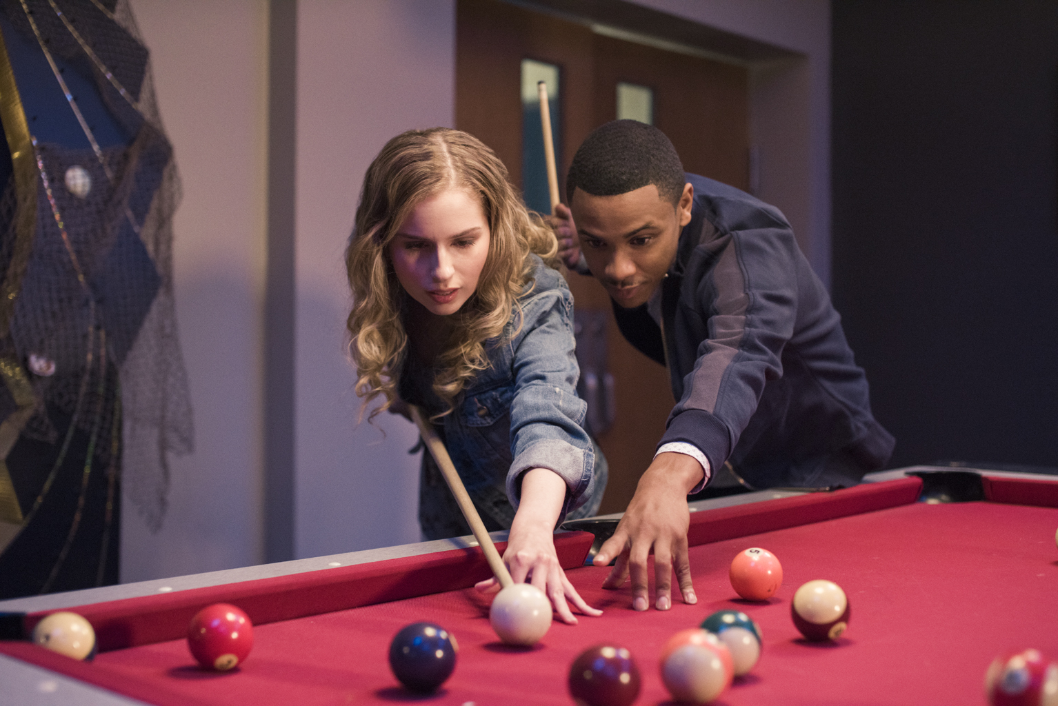 ALL NIGHT -- Karaoke - Episode 103 - As karaoke commences, Roni makes a huge announcement only to be topped by the revelation of an even bigger secret. Bryce begins to lay the groundwork for his seduction of the gym teacherís wife. Christian urges Melinda to come out of her shell. Christian Christian (Tequan Richmond), Melinda Weems (Allie Grant) shown. Photo by: Jake Thomas/Hulu)