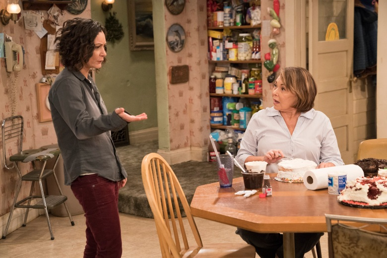 "ROSEANNE - ""Darlene v. David"" - David unexpectedly shows up for Harris' birthday after being absent for years, forcing Darlene to re-examine their relationship and the rest of the family. Meanwhile, Roseanne and Jackie's mother, Bev, temporarily moves into the Conner home after an incident at the nursing home prevents her from returning, on the fifth episode of the revival of ""Roseanne,"" TUESDAY, APRIL 17 (8:00-8:30 p.m. EDT), on The ABC Television Network. (ABC/Greg Gayne)SARA GILBERT, ROSEANNE BARR"