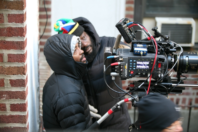 "Bradford Young and Andrew Dosunmu on the set of ""Where Is Kyra?"""