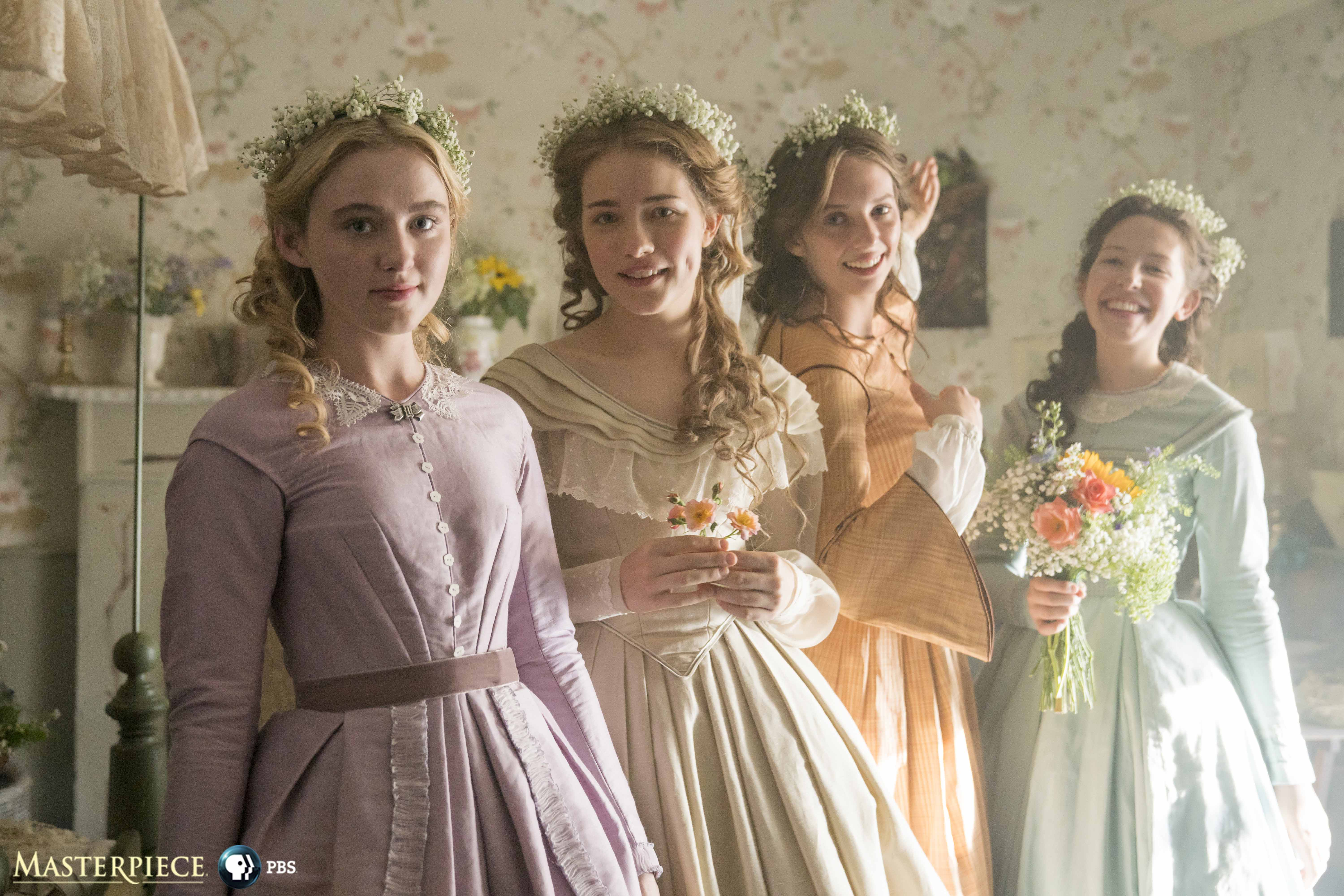 Little Women MASTERPIECE on PBSShown (Left-Right): Kathryn Newton as Amy, Willa Fitzgerald as Meg, Maya Hawke as Jo, and Annes Elwy as Beth.Little Women has been commissioned by Piers Wenger and Charlotte Moore at the BBC, and is produced by Playground (Wolf Hall, Howards End) for BBC One. The series is a co-production with MASTERPIECE on PBS. The producer is Susie Liggat. Executive producers are Colin Callender and Sophie Gardiner for Playground, Heidi Thomas, Lucy Richer for the BBC and Rebecca Eaton for Masterpiece. Lionsgate will manage worldwide distribution excluding US and UK.Photo courtesy of MASTERPIECE on PBS, BBC and Playground.