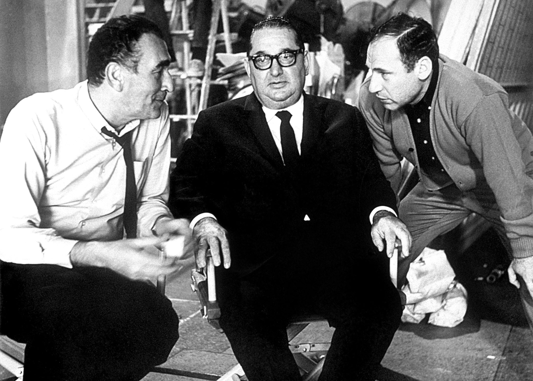 THE PRODUCERS, producer Sidney Glazier, executive producer Joseph E. Levine, director Mel Brooks on set, 1968