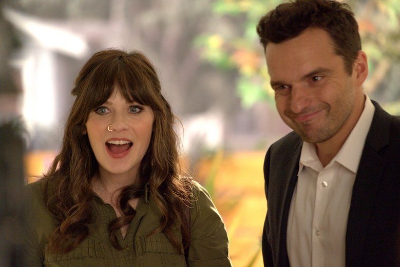 "NEW GIRL:  L-R:  Zooey Deschanel and Jake Johnson in the ""About Three Years Later"" season seven premiere episode of NEW GIRL airing Tuesday, April10 (9:30-10:00 PM ET/PT) on FOX.  ©2018 Fox Broadcasting Co.  Cr:  Ray Mickshaw/FOX"