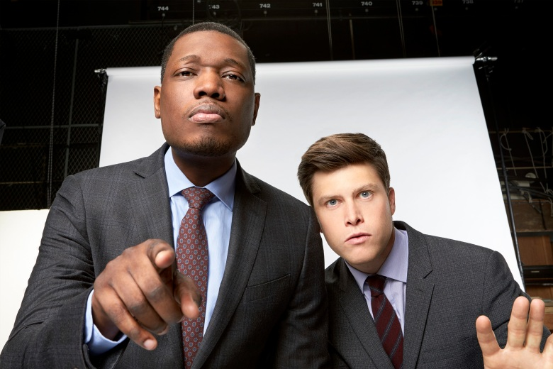 SATURDAY NIGHT LIVE: WEEKEND UPDATE -- Season: 1 -- Pictured: (l-r) Michael Che, Colin Jost -- (Photo by: Mary Ellen Matthews/NBC)