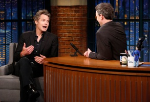 LATE NIGHT WITH SETH MEYERS -- Episode 671 -- Pictured: (l-r) Actor Timothy Olyphant during an interview with host Seth Meyers on April 10, 2018 -- (Photo by: Lloyd Bishop/NBC)
