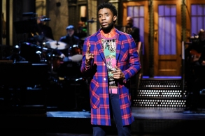 "SATURDAY NIGHT LIVE -- Episode 1742 ""Chadwick Boseman"" -- Pictured: Host Chadwick Boseman during the Opening Monologue in Studio 8H on Saturday, April 7, 2018 -- (Photo by: Will Heath/NBC)"