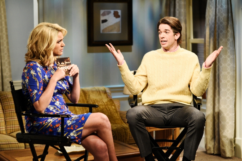 """SATURDAY NIGHT LIVE -- Episode 1743 """"John Mulaney"""" -- Pictured: (l-r) Cecily Strong, John Mulaney as Jay Paultodd during """"Sitcom Reboot"""" in Studio 8H on Saturday, April 14, 2018 -- (Photo by: Will Heath/NBC)"""