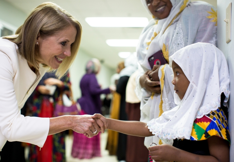 Raleigh, NC - Katie Couric (L) visits the Islamic Association of Raleigh. (National Geographic/Ben McKeown)