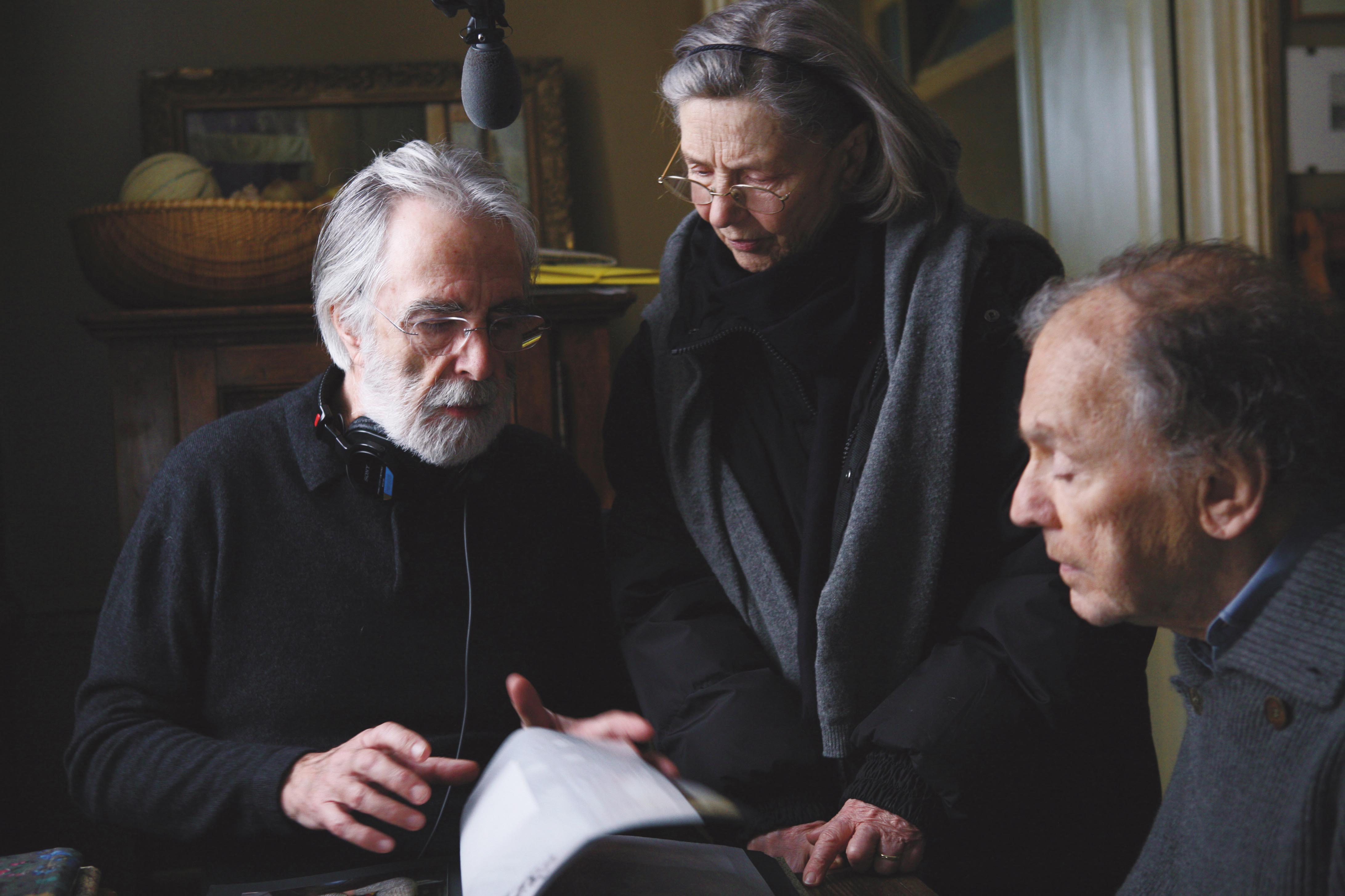 No Merchandising. Editorial Use Only. No Book Cover Usage. Mandatory Credit: Photo by Wega Film/Kobal/REX/Shutterstock (5881781d) Michael Haneke, Emmanuelle Riva, Jean-Louis Trintignant Amour - 2012 Director: Michael Haneke Wega Film AUSTRIA / FRANCE On/Off Set
