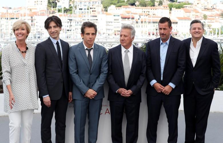 Emma Thompson, Noah Baumbach, Ben Stiller, Dustin Hoffman, Adam Sandler and Ted Sarandos'The Meyerowitz Stories' photocall, 70th Cannes Film Festival, France - 21 May 2017