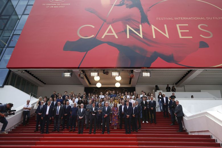 Thierry Fremaux, Pierre Lescure and Isabelle HuppertFeatures - 70th Cannes Film Festival, France - 23 May 2017(Front L-R) General Delegate of the Cannes Film Festival Thierry Fremaux, Mayor of Cannes David Lisnard, Cannes Festival President Pierre Lescure, French actress Isabelle Huppert and staff members hold a minute of silence to pay tribute to the victims of the Manchester terror attack during the 70th Anniversary of the Festival photocall at the 70th annual Cannes Film Festival, in Cannes, France, 23 May 2017. The festival runs from 17 to 28 May.