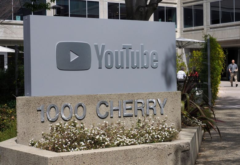 YouTube signage in front of one of their buildings in San Bruno, California, USA, 30 March 2018.YouTube Headquarters, San Bruno, USA - 30 Mar 2018