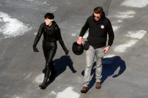 Claire Foy'The Girl in the Spider's Web' on set filming, Stockholm, Sweden - 12 Apr 2018