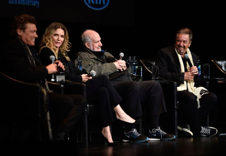 "Steven Bauer, Michelle Pfeiffer, Brian De Palma, Al Pacino. From left to right, actor Steven Bauer, actress Michelle Pfeiffer, director Brian De Palma and actor Al Pacino attend a 35th anniversary screening ""Scarface"" at the Beacon Theatre during 2018 Tribeca Film Festival, in New York2018 Tribeca Film Festival - ""Scarface"" 35th Anniversary Screening, New York, USA - 19 Apr 2018"