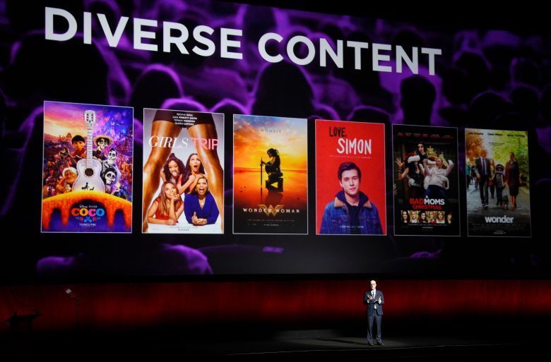 John Fithian, president and CEO of the National Association of Theatre Owners, discusses diversity in current films at CinemaCon 2018, the official convention of the National Association of Theatre Owners, at Caesars Palace, in Las Vegas2018 CinemaCon - State of the Industry, Las Vegas, USA - 24 Apr 2018