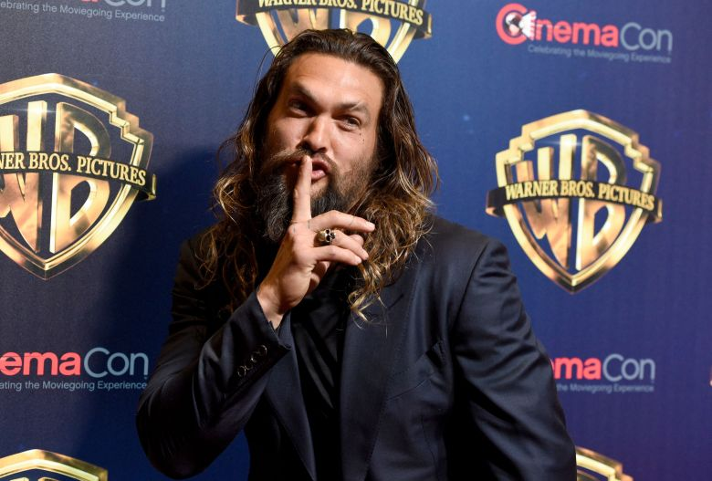 """Jason Momoa, a cast member in the upcoming film """"Aquaman,"""" arrives at the Warner Bros. presentation at CinemaCon 2018, the official convention of the National Association of Theatre Owners, at Caesars Palace, in Las Vegas2018 CinemaCon - Warner Bros. Press Line, Las Vegas, USA - 24 Apr 2018"""