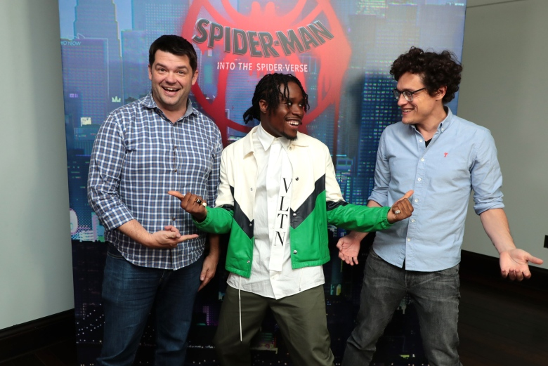 Las Vegas, NV - April 23, 2018: Executive Producer Christopher Miller, Shameik Moore and Executive Producer Phil Lord at the CinemaCon Photo Call for Columbia Pictures' SPIDER-MAN: INTO THE SPIDER-VERSE at The Colosseum at Caesar's Palace. #SpiderVerse