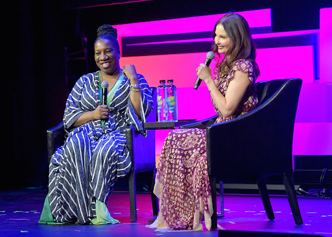 "NEW YORK, NY - APRIL 28: Tarana Burke (L) and Ashley Judd speak onstage at ""Time's Up"" during the 2018 Tribeca Film Festival at Spring Studios on April 28, 2018 in New York City. (Photo by Roy Rochlin/Getty Images for Tribeca Film Festival)"
