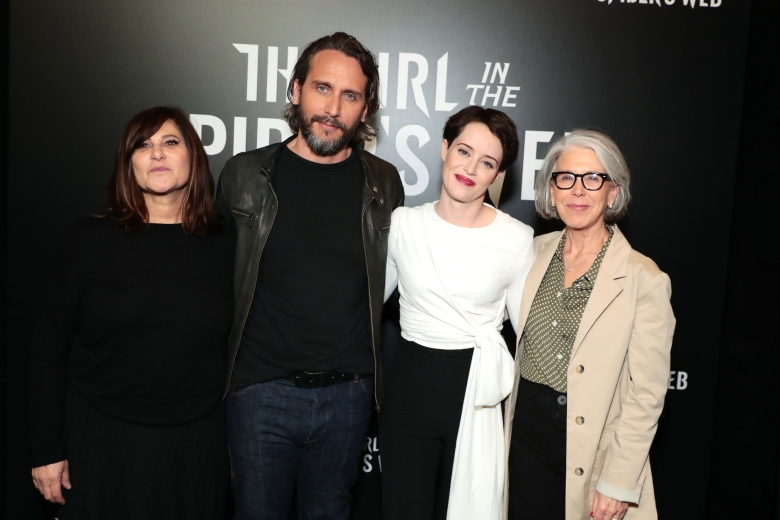Las Vegas, NV - April 23, 2018: Producer Amy Pascal, Director Fede Alvarez, Claire Foy and Producer Elizabeth Cantillon at the CinemaCon Photo Call for Columbia Pictures' THE GIRL IN THE SPIDER'S WEB at The Colosseum at Caesar's Palace. #GirlintheSpidersWeb