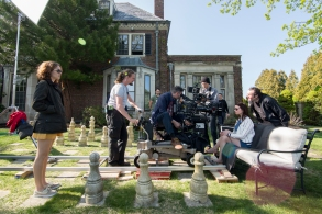 Anton Yelchin, Director Cory Finley, Director of Photography Lyle Vincent and Anya Taylor-Joy on the set of THOROUGHBREDS