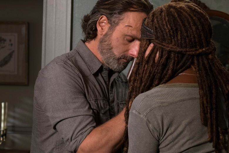 Andrew Lincoln as Rick Grimes, Danai Gurira as Michonne - The Walking Dead _ Season 8, Episode 14 - Photo Credit: Gene Page/AMC