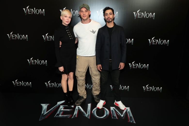 Las Vegas, NV - April 23, 2018: Michelle Williams, Tom Hardy and Riz Ahmed at the CinemaCon Photo Call for Columbia Pictures' VENOM at The Colosseum at Caesar's Palace. #Venom