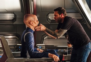 """""""The Vulcan Hello"""" -- Episode #101 -- Coverage of the CBS All Access series STAR TREK: DISCOVERY. Pictured (l-r): Doug Jones as Lieutenant Saru; Prosthetics Supervisor, James Mackinnon. Photo Cr: Jan Thijs/CBS © 2017 CBS Interactive. All Rights Reserved."""