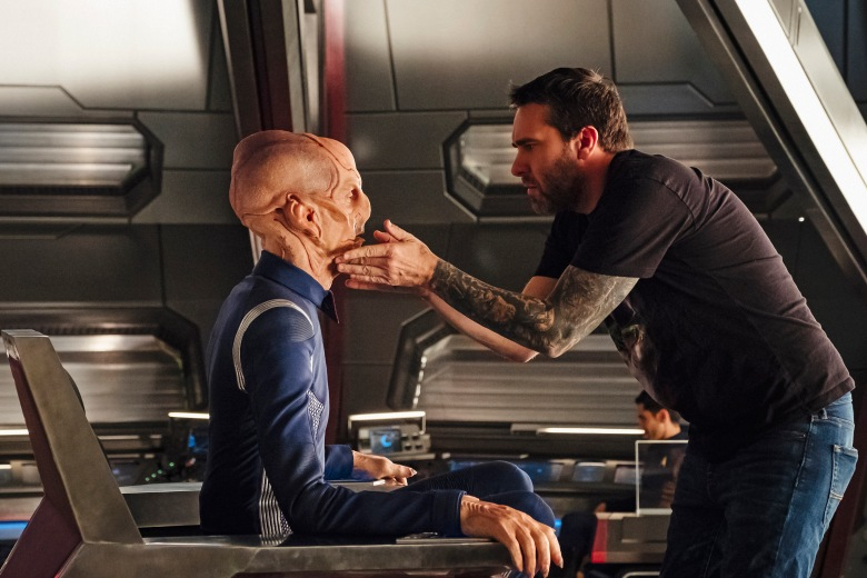 """The Vulcan Hello"" -- Episode #101 -- Coverage of the CBS All Access series STAR TREK: DISCOVERY. Pictured (l-r): Doug Jones as Lieutenant Saru; Prosthetics Supervisor, James Mackinnon. Photo Cr: Jan Thijs/CBS © 2017 CBS Interactive. All Rights Reserved."