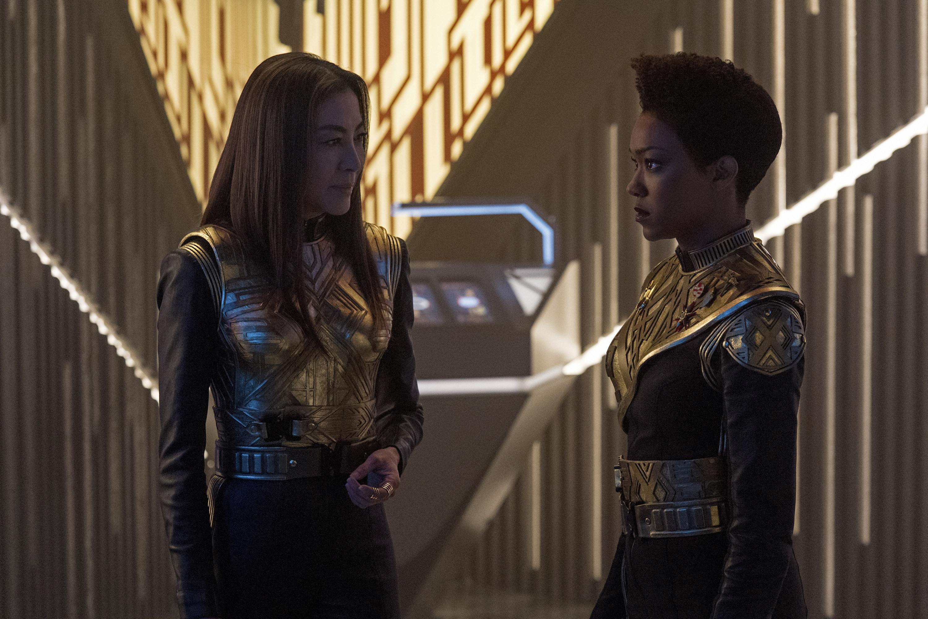"""Vaulting Ambition"" -- Episode 112 -- Pictured (l-r): Michelle Yeoh as Philippa Georgiou; Sonequa Martin-Green as Michael Burnham of the CBS All Access series STAR TREK: DISCOVERY. Photo Cr: Ben Mark HolzbergCBS © 2017 CBS Interactive. All Rights Reserved."