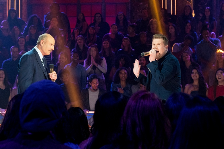 Dr Phil vs James Corden - Drop The Mic - Hosts: Method Man & Hailey Baldwin. Photo Cr: Kelsey McNeal/CBS © 2017 CBS Television Studios. All Rights Reserved.