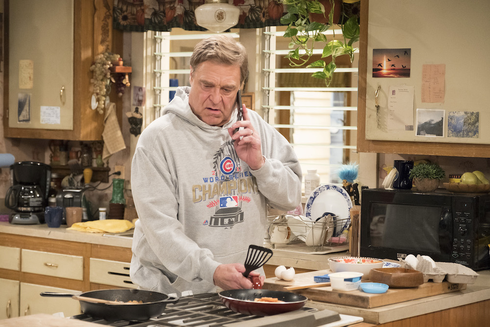 """ROSEANNE - """"Netflix & Pill"""" - After celebrating their 45th anniversary, Roseanne reveals to Dan a bigger problem with her bad knee. Meanwhile, Crystal announces her retirement as a waitress at the casino, and Becky and Darlene compete for the job which has full-time benefits, on the eighth episode of the revival of """"Roseanne,"""" TUESDAY, MAY 15 (8:00-8:30 p.m. EDT), on The ABC Television Network. (ABC/Adam Rose)JOHN GOODMAN"""