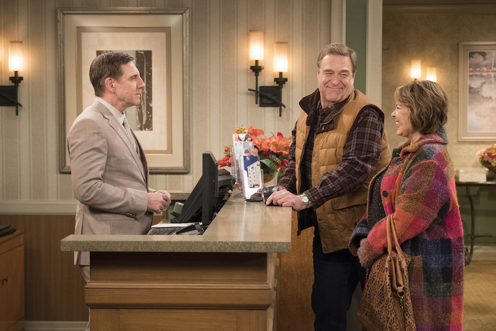 """ROSEANNE - """"Netflix & Pill"""" - After celebrating their 45th anniversary, Roseanne reveals to Dan a bigger problem with her bad knee. Meanwhile, Crystal announces her retirement as a waitress at the casino, and Becky and Darlene compete for the job which has full-time benefits, on the eighth episode of the revival of """"Roseanne,"""" TUESDAY, MAY 15 (8:00-8:30 p.m. EDT), on The ABC Television Network. (ABC/Adam Rose)TIM BAGLEY, JOHN GOODMAN, ROSEANNE BARR"""