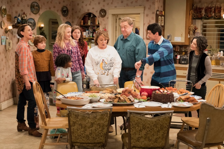 """ROSEANNE - """"Knee Deep"""" - Roseanne's knee gets worse so Dan is forced to a make an important work decision; but when a major storm hits Lanford, their fortunes change for the better. Later, Darlene realizes she has to go back to her first passion . writing, on the ninth episode and season finale of the revival of """"Roseanne,"""" TUESDAY, MAY 22 (8:00-8:30 p.m. EDT), on The ABC Television Network. (ABC/Adam Rose)LAURIE METCALF, AMES MCNAMARA, JAYDEN REY, LECY GORANSON, EMMA KENNEY, ROSEANNE BARR, JOHN GOODMAN, MICHAEL FISHMAN, SARA GILBERT"""