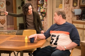 """ROSEANNE - """"No Country for Old Women"""" - After Beverly gets kicked out of the nursing home, Roseanne and Jackie fight over who will take care of their mother. Meanwhile, Mark's creative touch with building a birdhouse for Dan's customer is more than Dan can handle, but Darlene defends her son, on the sixth episode of the revival of """"Roseanne,"""" TUESDAY, MAY 1 (8:00-8:30 p.m. EDT), on The ABC Television Network. (ABC/Greg Gayne)SARA GILBERT, JOHN GOODMAN"""