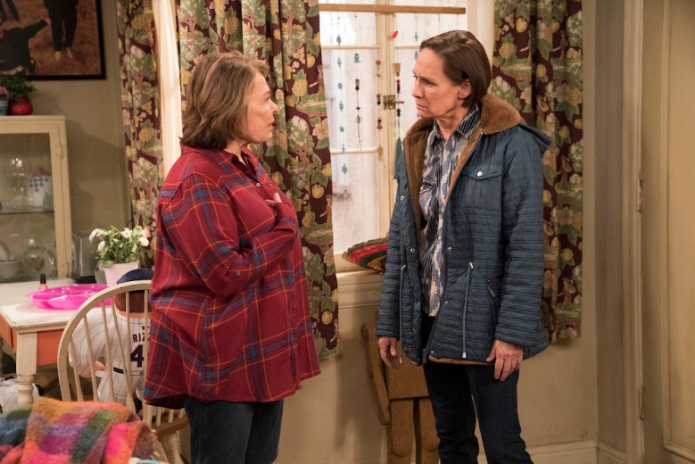 "ROSEANNE - ""No Country for Old Women"" - After Beverly gets kicked out of the nursing home, Roseanne and Jackie fight over who will take care of their mother. Meanwhile, Mark's creative touch with building a birdhouse for Dan's customer is more than Dan can handle, but Darlene defends her son, on the sixth episode of the revival of ""Roseanne,"" TUESDAY, MAY 1 (8:00-8:30 p.m. EDT), on The ABC Television Network. (ABC/Greg Gayne)ROSEANNE BARR, LAURIE METCALF"