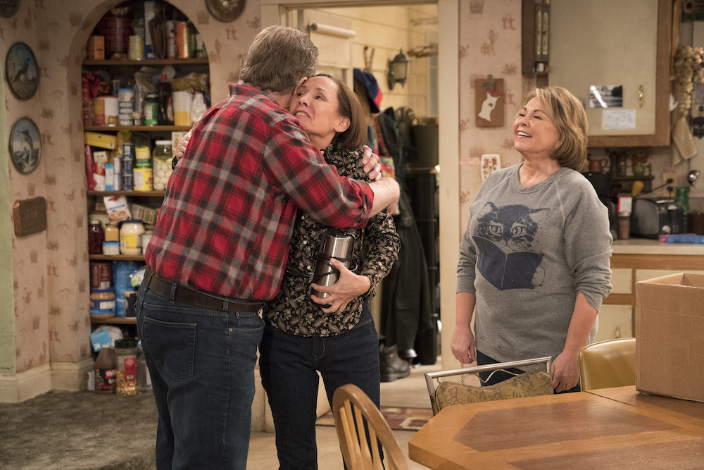 "ROSEANNE - ""No Country for Old Women"" - After Beverly gets kicked out of the nursing home, Roseanne and Jackie fight over who will take care of their mother. Meanwhile, Mark's creative touch with building a birdhouse for Dan's customer is more than Dan can handle, but Darlene defends her son, on the sixth episode of the revival of ""Roseanne,"" TUESDAY, MAY 1 (8:00-8:30 p.m. EDT), on The ABC Television Network. (ABC/Greg Gayne)LAURIE METCALF, ROSEANNE BARR"