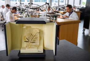 ATTENTION: This Image is part of a PHOTO SET NO SALES/NO ARCHIVESMandatory Credit: Photo by MARTIAL TREZZINI/EPA-EFE/REX/Shutterstock (9660927s)A Palme d'Or trophy for the upcoming Cannes Film Festival is presented at jewellery maker Chopard in the Haute Joaillerie workshop during a demonstration of the making of the Palme d'Or trophy for the upcoming Cannes Film Festival, in Meyrin near Geneva, Switzerland, 03 May 2018 (issued 04 May). The trophy has been handcrafted in Geneva workshops by Chopard as an Official Partner of the Festival since 1998. The 71st International Cannes Film Festival runs from 08 to 19 May.Fabrication of Palme d'Or trophies near Geneva, Meyrin, Switzerland - 03 May 2018