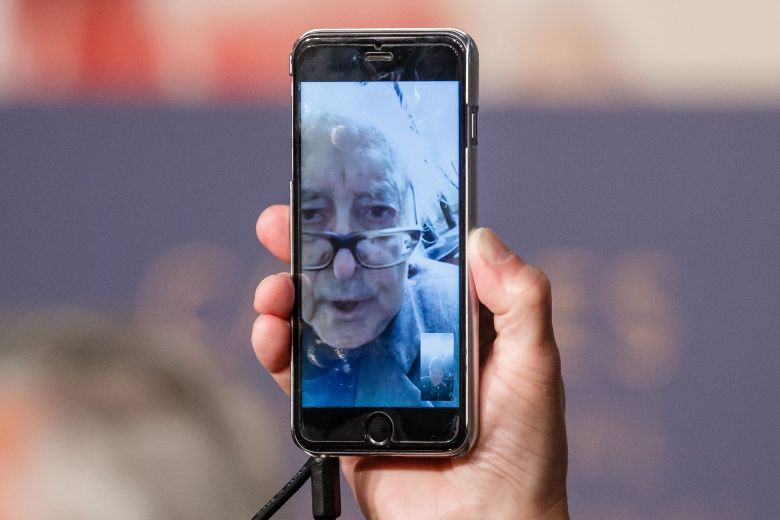 French director Jean Luc Godard attends the press conference remotely from his house for 'Image Book (Le Livre D'Image)' during the 71st annual Cannes Film Festival, in Cannes, France, 12 May 2018. The movie is presented in the Official Competition of the festival which runs from 08 to 19 May.Image Book (Le Livre D'Image) Press Conference - 71st Cannes Film Festival, France - 12 May 2018