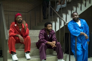 "ATLANTA Robbin' Season -- ""North of the Border"" -- Season Two, Episode 9 (Airs Thursday, April 26, 10:00 p.m. e/p) Pictured: (l-r) Lakeith Stanfield as Darius, Donald Glover as Earnest Marks, Brian Tyree Henry as Alfred Miles. CR: Guy D'Alema/FX"