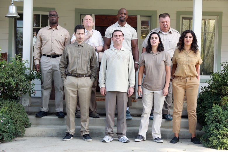 "BROOKLYN NINE-NINE: Clockwise from top row: Andrew Braugher, Dirk Blocker, Terry Crews, Joel McKinnon Miller, Andy Samberg, Joe Lo Truglio, Melissa Fumero and Stephanie Beatriz in the ""99"" episode of BROOKLYN NINE-NINE airing Tuesday, Nov. 28 (9:30-10:00 PM ET/PT) on FOX. CR: Jordin Althaus / FOX"