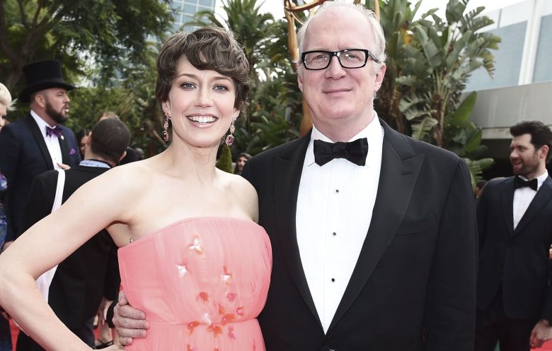 Carrie Coon, Tracy Letts. Carrie Coon, left, and Tracy Letts arrive at the 69th Primetime Emmy Awards, at the Microsoft Theater in Los Angeles69th Primetime Emmy Awards - Limo Drop Off, Los Angeles, USA - 17 Sep 2017