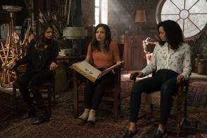 """Charmed -- """"Pilot""""-- Image Number: CMD101c_0494rb.jpg -- Pictured (L-R): Melonie Diaz as Mel Vera, Sarah Jeffery as Maggie Vera and Madeleine Mantock as Macy Vaughn -- Photo: Katie Yu/The CW -- © 2018 The CW Network, LLC. All Rights Reserved"""