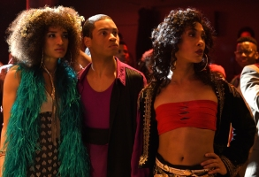 "POSE -- ""Pilot"" -- Season 1, Episode 1 (Airs Sunday, June 3, 9:00 p.m. e/p)  Pictured (l-r):  Indya Moore as Angel, Ryan Jamaal Swain as Damon, Mj Rodriguez as Blanca. CR: JoJo Whilden/FX"