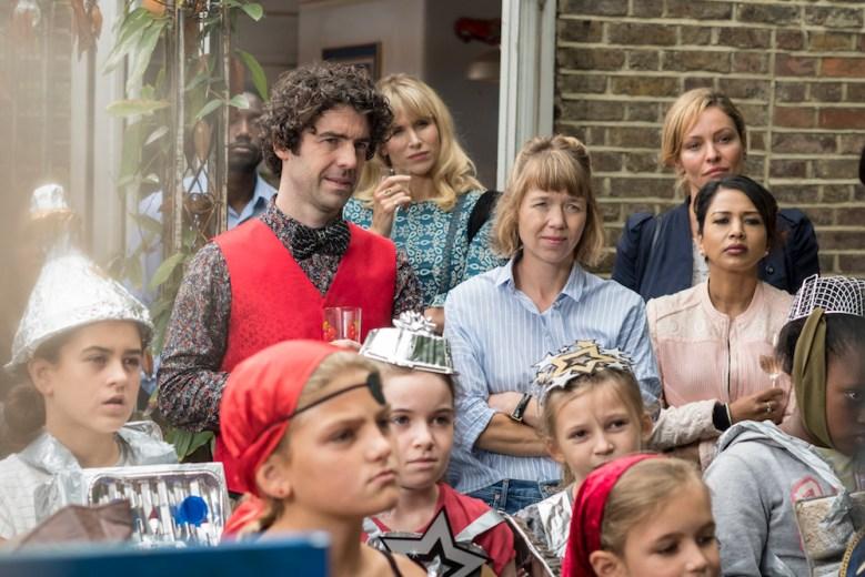 Lucy Punch as Amanda, Paul Ready as Kevin, Anna Maxwell Martin as Julia - Motherland _ Season 1, Episode 1 - Photo Credit: Colin Hutton/SundanceNow/Merman/Delightful/Lionsgate/BBC