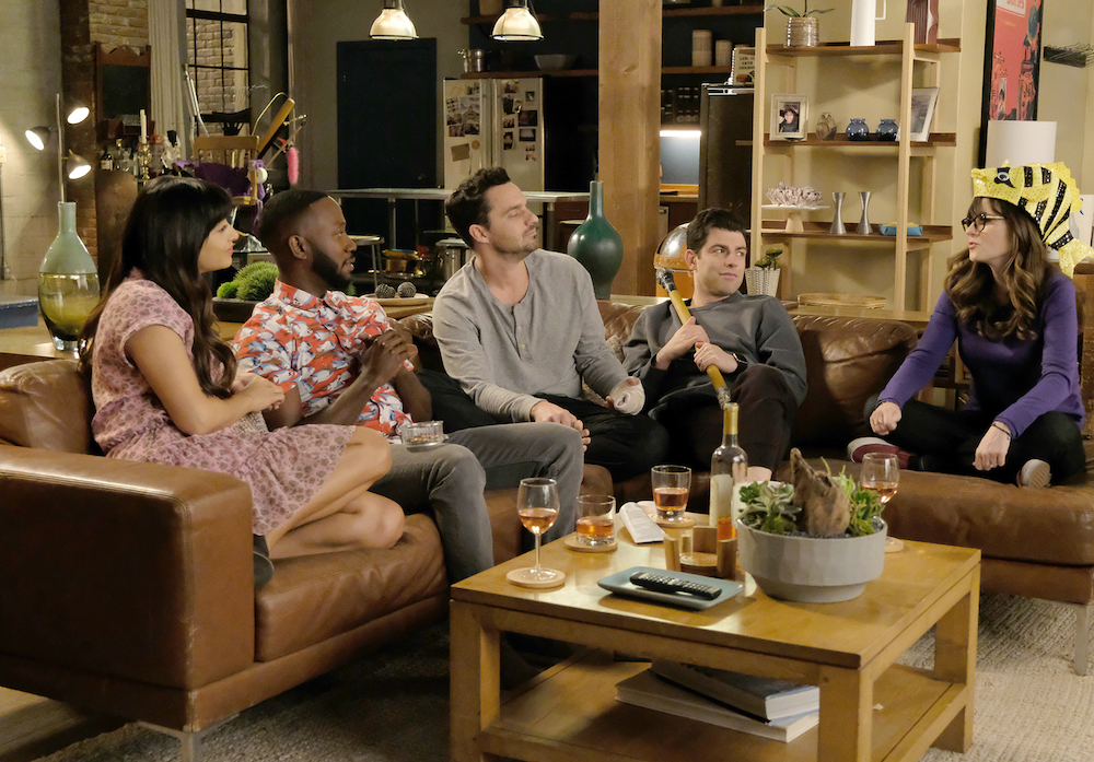"NEW GIRL: L-R: Hannah Simone, Lamorne Morris, Jake Johnson, Max Greenfield and Zooey Deschanel in ""Engram Pattersky,"" the second portion of the actual one-hour series finale episode of NEW GIRL, airing Tuesday, May perchance perhaps presumably also 15 (9:30-10:00 PM ET/PT) on FOX. ©2018 Fox Broadcasting Co. Cr: Ray Mickshaw/FOX"
