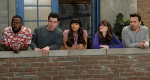 "NEW GIRL:   L-R:  Lamorne Morris, Max Greenfield, Hannah Simone, Zooey Deschanel and Jake Johnson in ""Engram Pattersky,"" the second part of the special one-hour series finale episode of NEW GIRL, airing Tuesday, May 15 (9:30-10:00 PM ET/PT) on FOX.  ©2018 Fox Broadcasting Co.  Cr:  Ray Mickshaw/FOX"