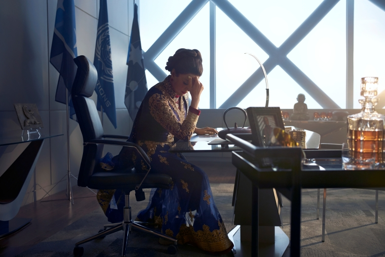 THE EXPANSE -- Season:2 -- Pictured: Shohreh Aghdashloo as Chrisjen Avasarala -- (Photo by: Kurt Iswarienko/Syfy)